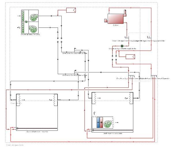 Simulación de vivienda con suelo radiante y sistema multisplit