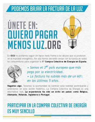 Campaña de la OCU para comprar de forma colectiva electricidad